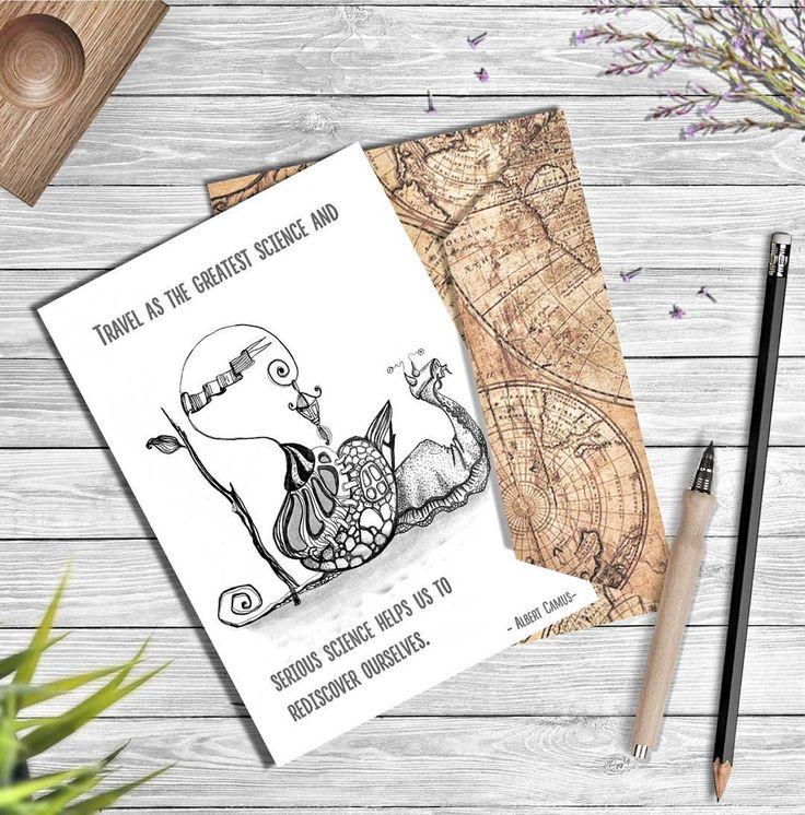 """""""Путешествие как самая великая и серьезная наука помогает нам вновь обрести себя."""" Альбер Камю    #drawingpen  #scetch  #postcard  #snail  #trevel  #lifeandjoy  #drawing #topcreator"""