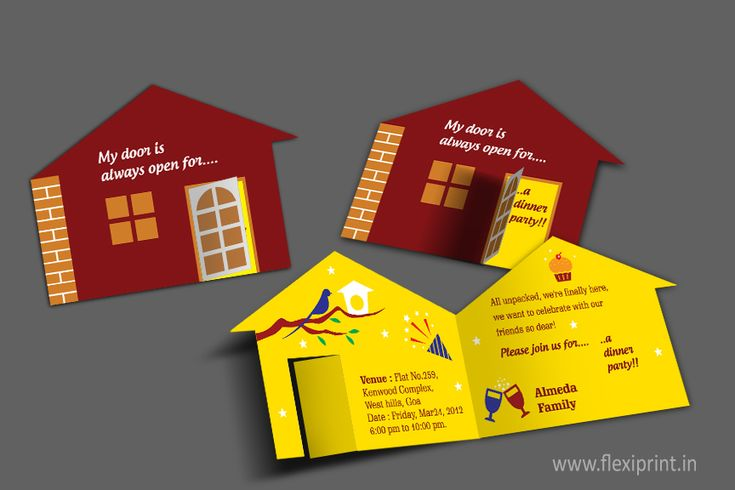 << Die-Cut #InvitationCard for House Warming Ceremony >> by http://www.flexiprint.in/