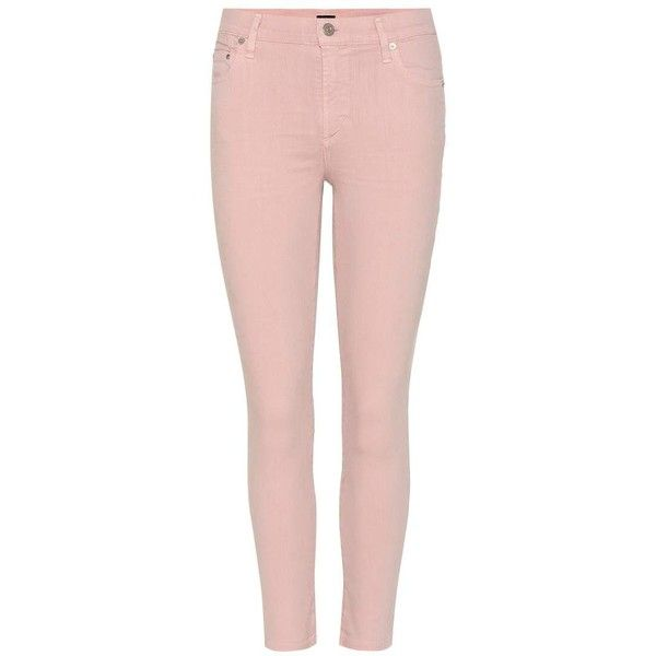 Citizens of Humanity Rocket Crop High-Rise Skinny Jeans ($280) ❤ liked on Polyvore featuring jeans, pants, bottoms, pink, cropped jeans, cropped skinny jeans, high waisted jeans, light pink jeans and denim skinny jeans