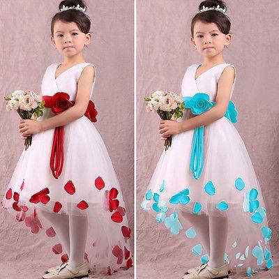 Girls Kids Princess Flower Petals Party Wedding Fancy Formal Gown Dress