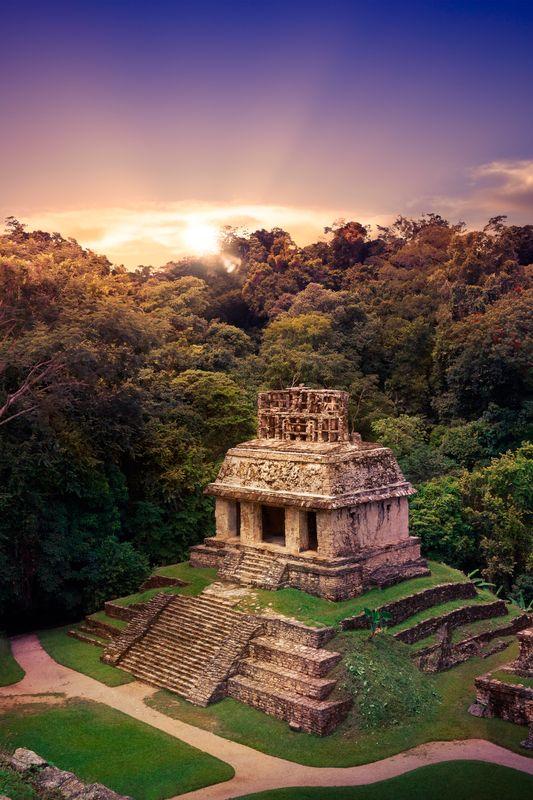 Ruins of Palenque, Maya city in Chiapas, Mexico.