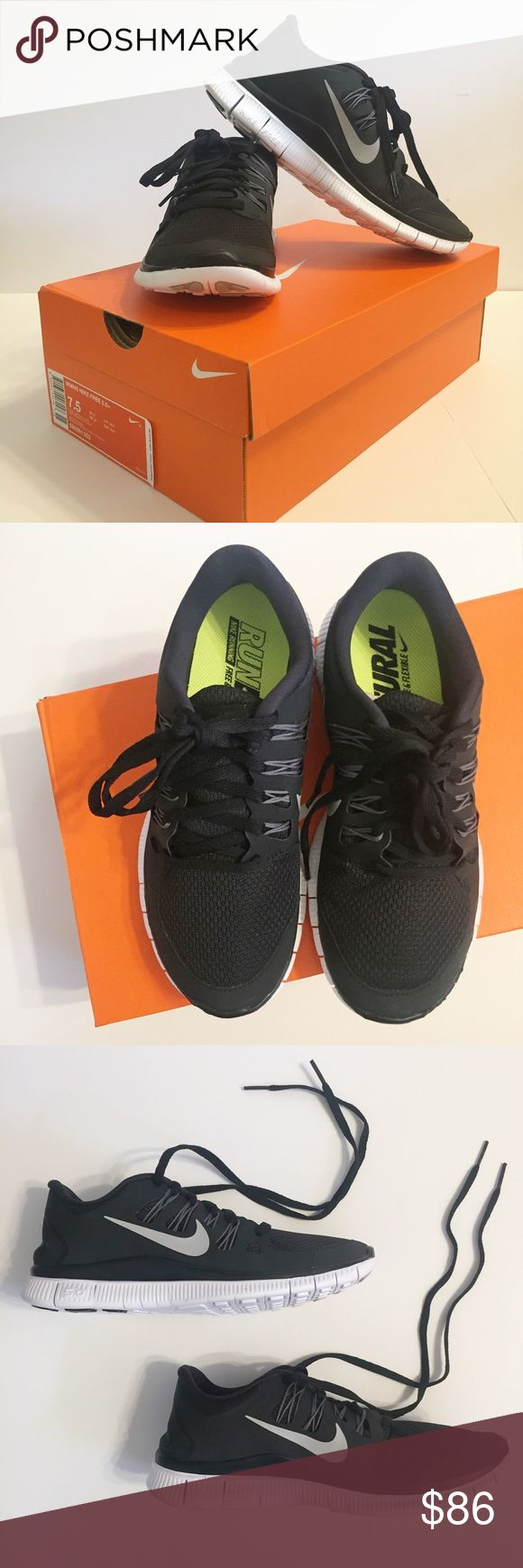 NWT Nike Free 5.0 Black & Metallic Running Shoe Brand new in box! Women's Nike Free 5.0+ in size 7 1/2 - 7.5. Color is Black & Metallic Silver. All over black with silver Nike Swoosh. Nike Running - Free & Flexible. These shoes are lightweight. I personally think it fits a little small/narrow. These shoes are no longer available in stores. Were only worn for try-on in stores. Great condition!!! NO TRADES. Nike Shoes Sneakers