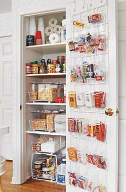 Organized pantry - maybe try to over the door shoe organizer?