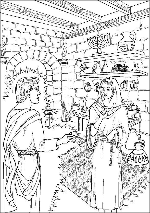 Angel Visits Mary Coloring Pages