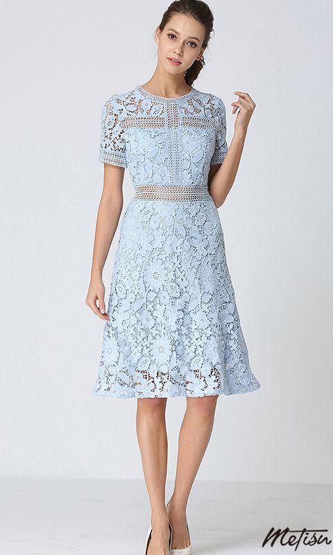 121fdecaa90 Light Blue Crochet Lace Midi Dress in 2019