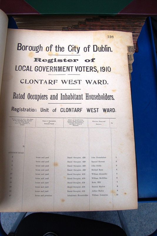 Dublin City Electoral Rolls  for 1908-1912 and 1915 are now fully searchable online.   A great resource for family history, local history and social history.