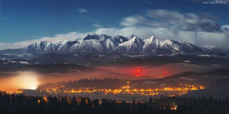 Góry, Tatry, Noc, Domy, Drzewa