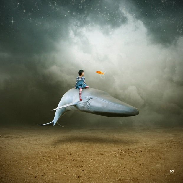 Photo Manipulations by Silvia15 -- There's just something about illustrations with whales and fishes that facinate me.