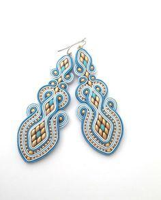 Long dangle statement earrings blue earrings golden by anatydesign