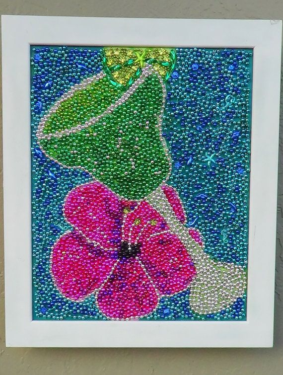 Margarita time mardi gras bead mosaic art by SweetSouthernBreezes, $165.00