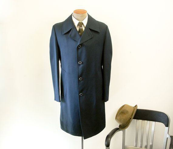 1960s-70s Mens Dress Coat Vintage Navy Blue Mad Men Era Mens All Weather Long Overcoat with Removable Lining by Crownwear - Size 38 (MEDIUM)...