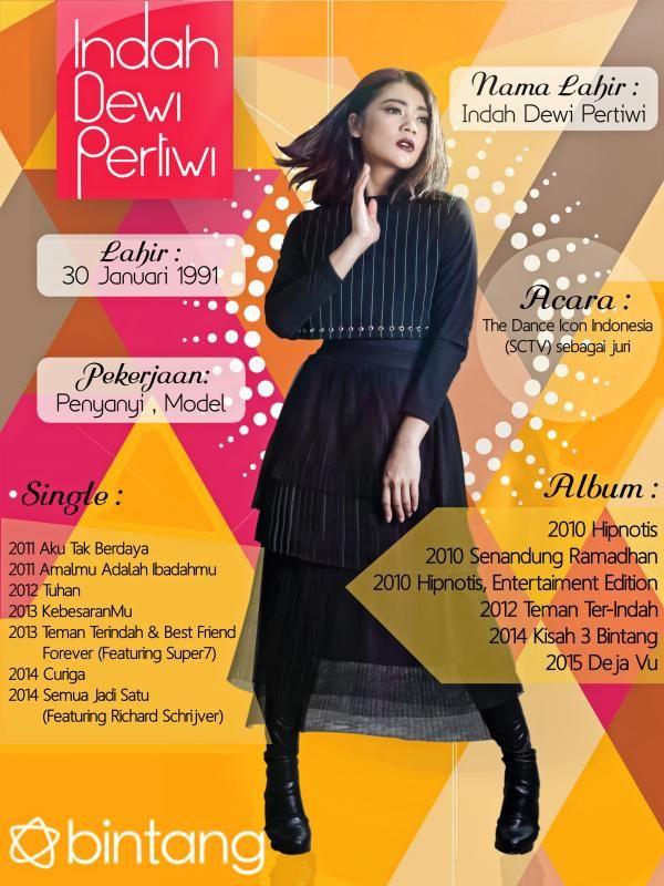 Tidak sulit mengenali seorang Indah Dewi Pertiwi. Penampilan yang fashionable dan wajah yang familiar akan membuat semua orang tertarik kepadanya. Supaya lebih dekat lagi dengan IDP, yuk simak infografisnya. #IndahDewiPertiwi #Penyanyi #CelebBio #Bintang #Indonesia