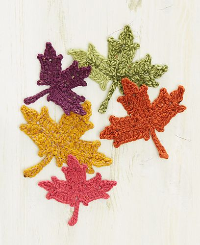 Maple Leaf Crochet Pattern for free from Interweave! Play with tweed yarns using a fun Maple Leaf Crochet Pattern. Make a garland, some table decorations or even a coaster or two. We played with 5 fun tweed or tweed like yarns. Free Pattern More Patterns Like This!