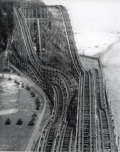 The Comet, the largest wooden roller coaster at the old Crystal Beach amusement park, Ontario.