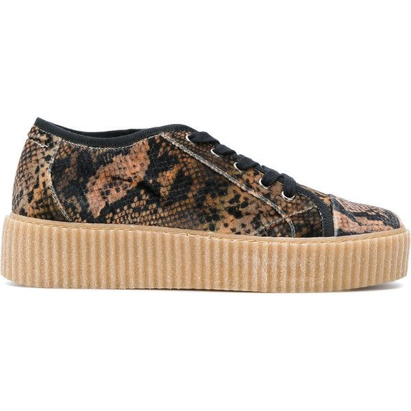 Mm6 Maison Margiela snake skin print platform sneakers ($360) ❤ liked on Polyvore featuring shoes, sneakers, brown, python sneakers, leather platform sneakers, leather shoes, platform sneakers and platform trainers