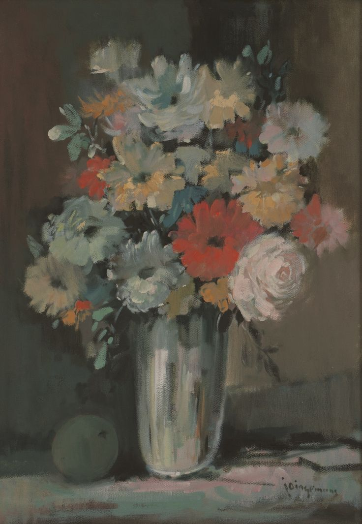 Jan (Johannes Wilhelmus) Dingemans (South African 1921 - 2001) FLORAL STILL LIFE signed; oil on canvass laid down on board; 50 by 34.5cm