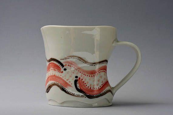Porcelain wheel thrown-hand painted mug aprox 9 oz.