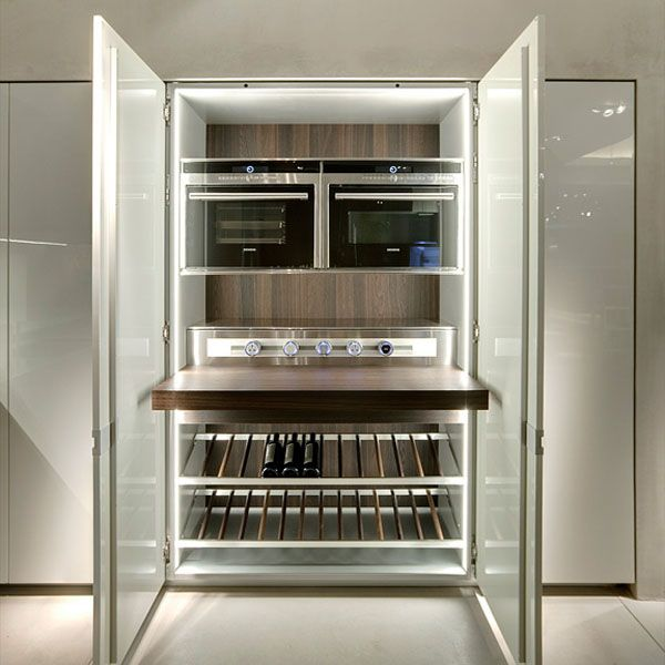 Icon Kitchen by Ernestomeda _- Hidden wine storage and refrigeration in conference rooms?