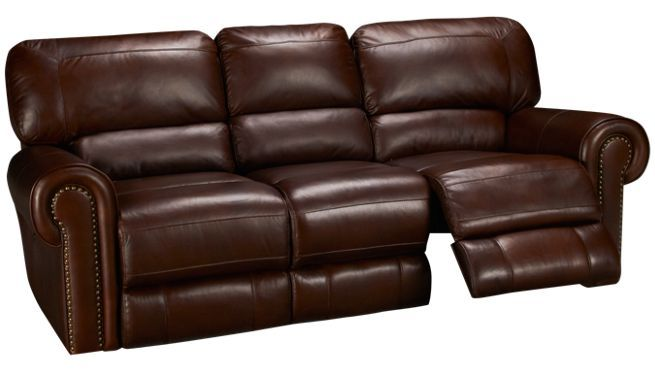 Era Nouveau Nail Head Leather Power Sofa Recliner