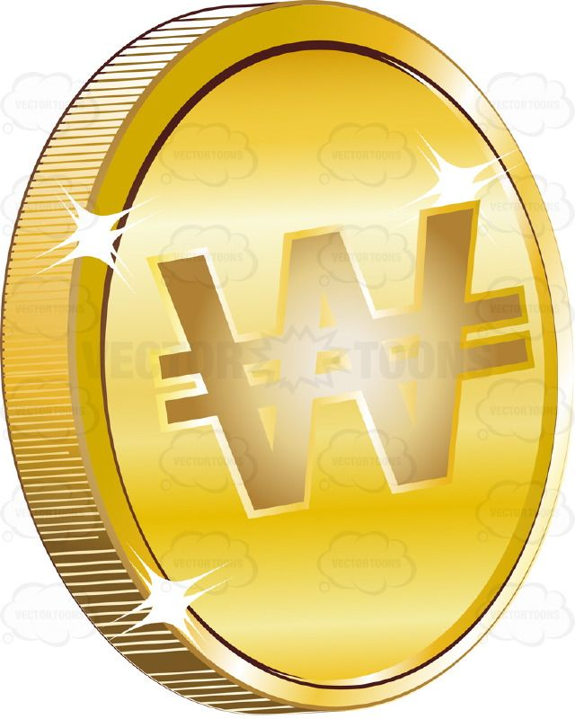 North Korean and South Korean Won Sign On Gold Coin Currency #coin #currency #exchange #medallion #monetary #money #pay #PDF #symbol #vectorgraphics #vectors #vectortoons #vectortoons.com #wealth