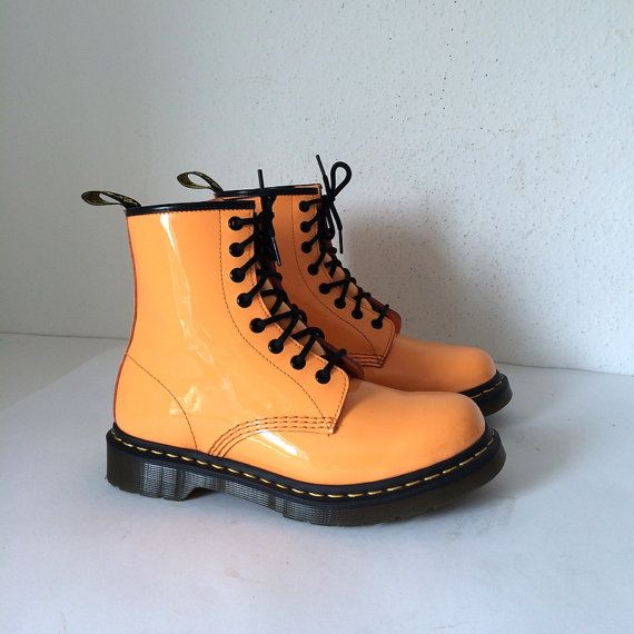 Dr Martens Air Wair Orange Ankle Boots Size 8 US by pascalvintage, $69.00