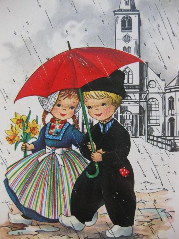 Dutch Children under Umbrella