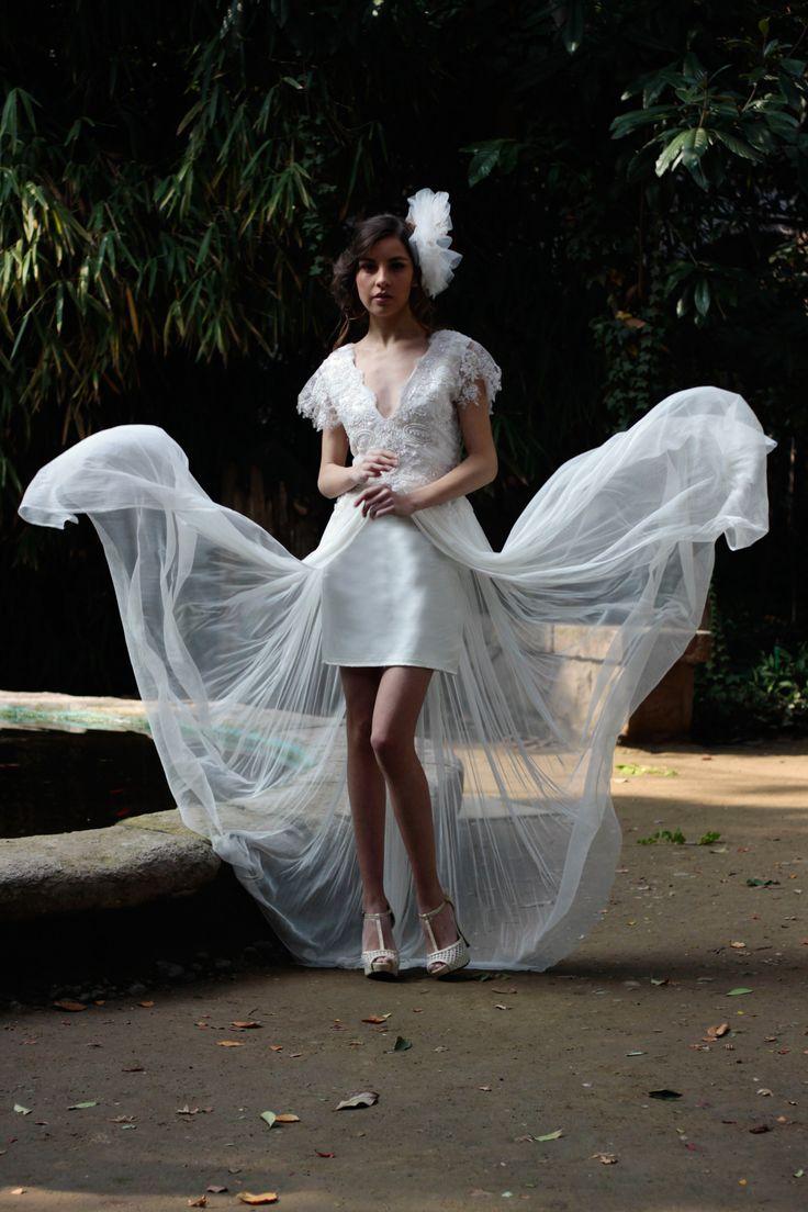 vestido de novia tull seda