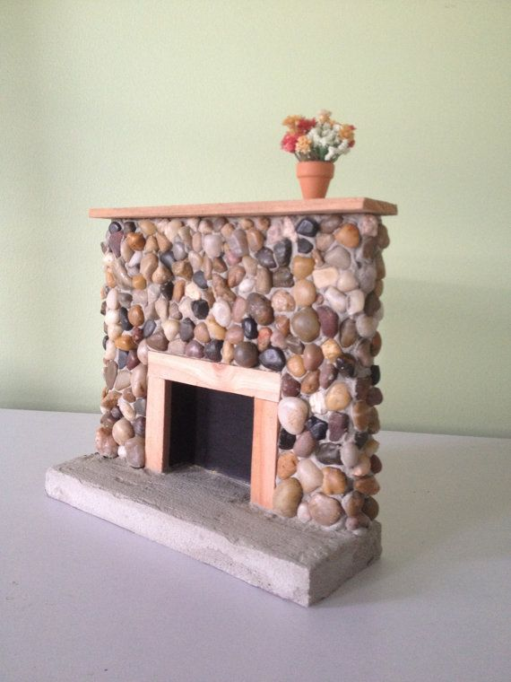 Barbie Size Riverstone Fireplace - Rustic - Lodge 1:6 Scale - Barbie Furniture