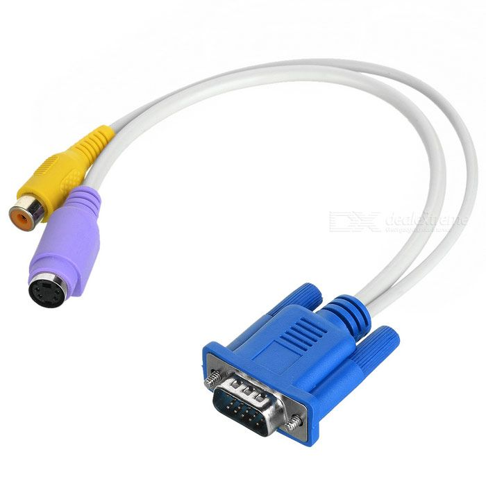 VGA to SVIDEO and RCA F Cable. The VGA to s-video and RCA female cable is perfect for laptop and PC with VGA cards that have TV-Out function capability through the VGA connector. This cable is VGA connector on one end and both RCA jack Video (TV) out and S-Video out connectors on the other end. The VGA cable to s-video and RCA cable is perfect to connector your PC or laptop to TV. - Color: White + blue + purple + yellow - Material: Plastic + metal - VGA 15-pin male to 4-pin S-video female…
