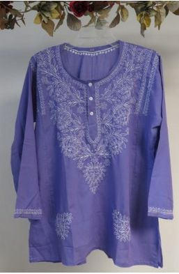 Our wide selection of cotton summer tunics for women features this lilac purple embroidered cotton tunic on Sale at deeply discounted pricing. The slight variations in the embroidery maintain the uniqueness of each top.
