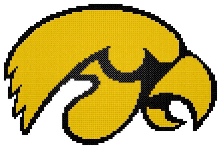 University of iowa hawkeyes logo cross stitch pattern by