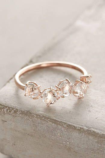 14k Gold Gemstone Bar Ring