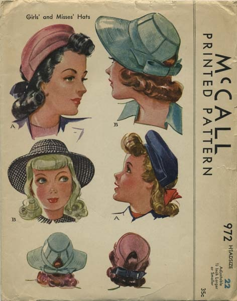Vintage Hat Sewing Pattern | McCall 972 | Year 1942 | Head Size 22