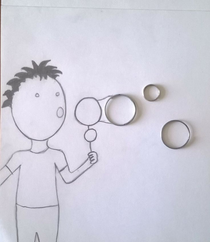 Creative illustrations. Keychain rings as bubbles.