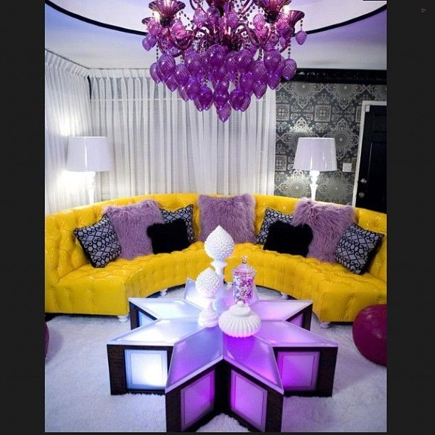 Now this is a kind of living room you either live or hate, no in between lol #purple #yellow #chandelier #instahome #instadaily #instadecor #instadesign #instagramer #picoftheday #pictureoftheday #photooftheday #igdaily #follow #blogger #home #homedecor #homedesign #interiors... - Interior Design Ideas, Interior Decor and Designs, Home Design Inspiration, Room Design Ideas, Interior Decorating, Furniture And Accessories