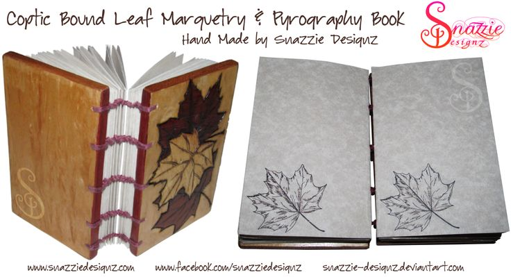 This is a completely hand made Coptic bound book with a marquetry and pyrographed leaf design on the front cover. The back cover has a figured wood veneer which glimmers and sparkles in the light. The outer edges of the covers also have different colour veneers.  The inside pages are an extremely high quality smoked lorenzo paper with a hand printed leaf motif on each page. Since it's Coptic bound it opens flat and is ideal for journal writing or note taking. www.facebook.com/snazziedesignz