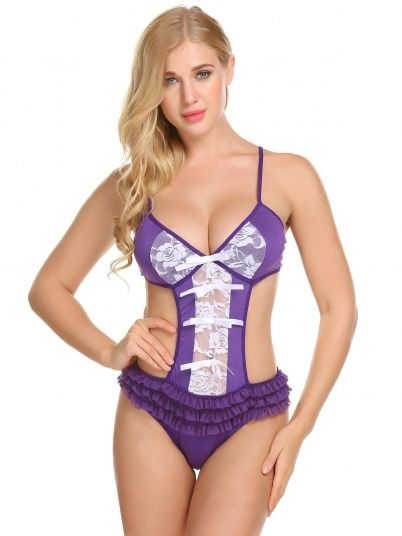 fd8afddab4 Purple Women Sexy Lingerie Spaghetti Strap Backless Cut Out One ...