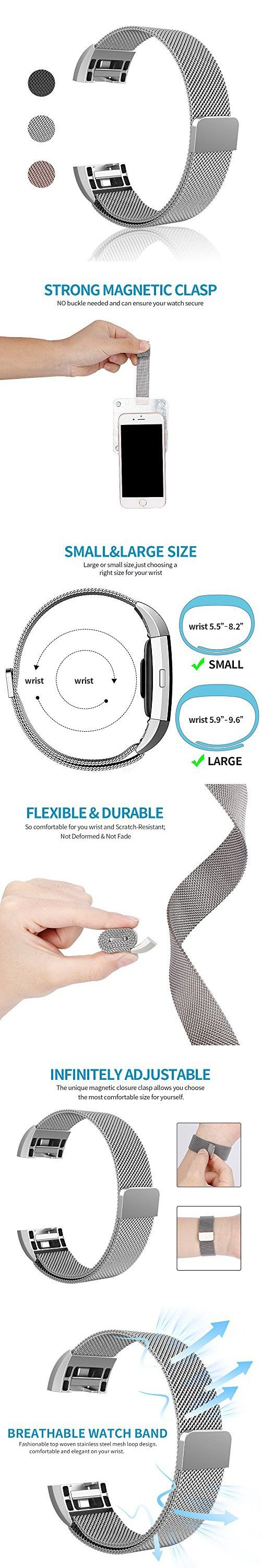 Fitbit Charge 2 Band-TENKER Adjustable Replacement Accessories Bands, Metal Wristband Band Strap - Stainless Steel Milanese Loop Metal Replacement Accessories Bracelet Strap (SILVER-S)