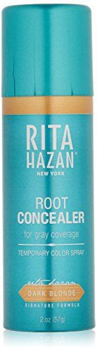 (Product review for RITA HAZAN Root Concealer, Dark Blonde, 2 oz.). For dark honey to light caramel shades, Rita's revolutionary aerosol concealer extends salon color. Waterproof and transfer-proof. An award-winning aerosol root concealer extends salon color with temporary gray root cover-up. The only water-proof, transfer-proof touch up spray with a nozzle a...