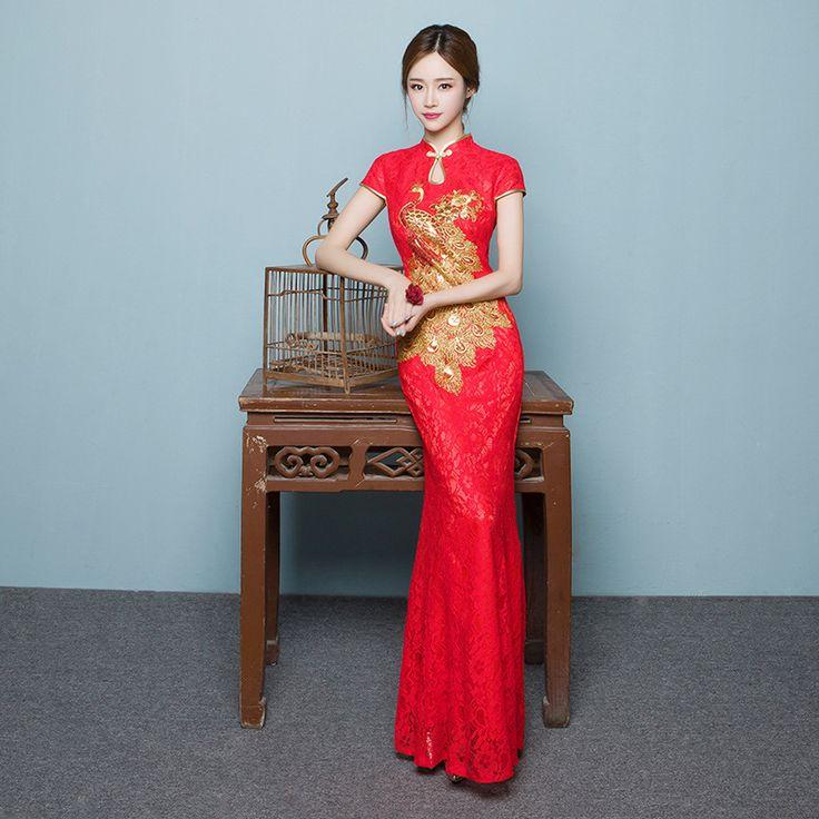 Bride Long Cheongsam Dress Red Lace Qipao Vestidos Robe Chinoise Vintage Wedding Dress Modern  Embroider Vestido Oriental QL