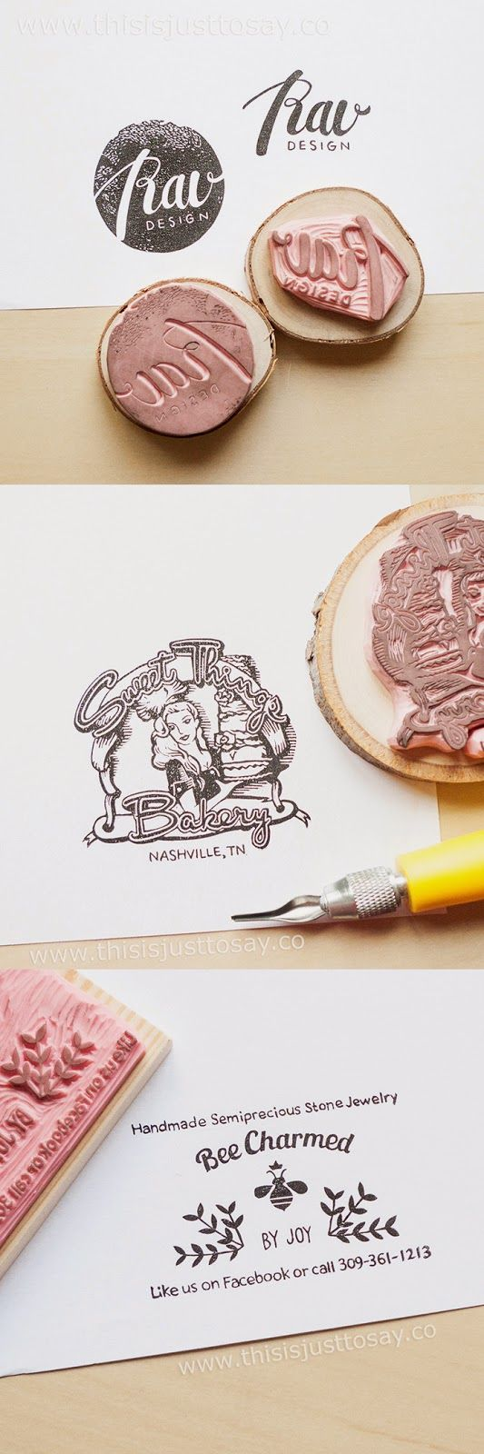 These custom business logo stamps are made by Tyr from Stockholm. You can commission a stamp by her at an affordable price too - on www.thisisjusttosay.co