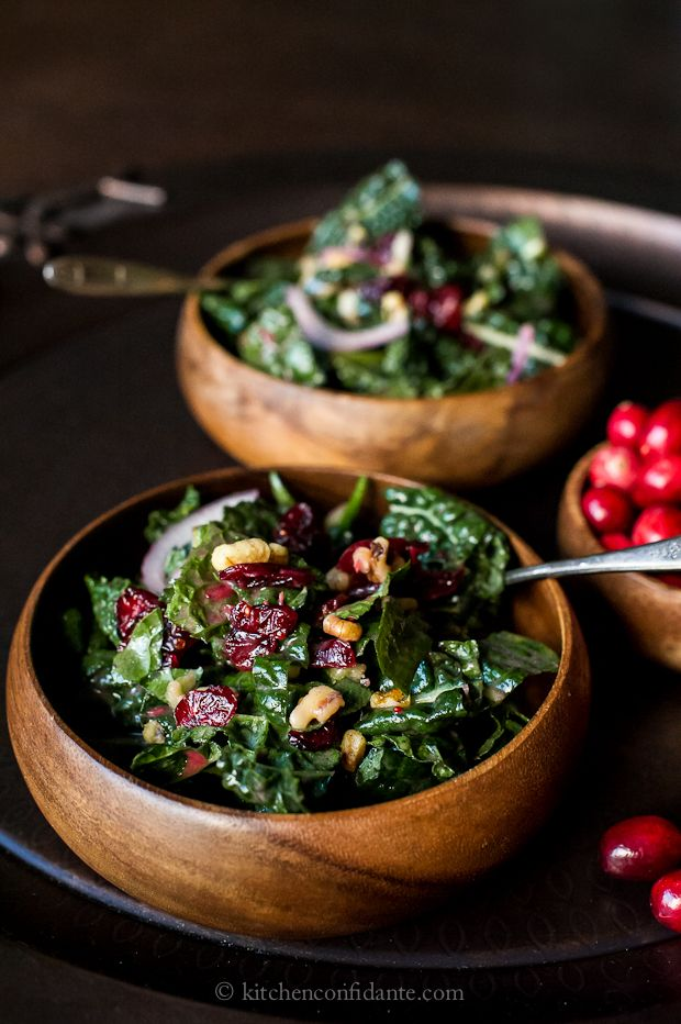 Cranberry, walnut & kale salad w/ fresh cranberry dressing. Oh, this looks good.