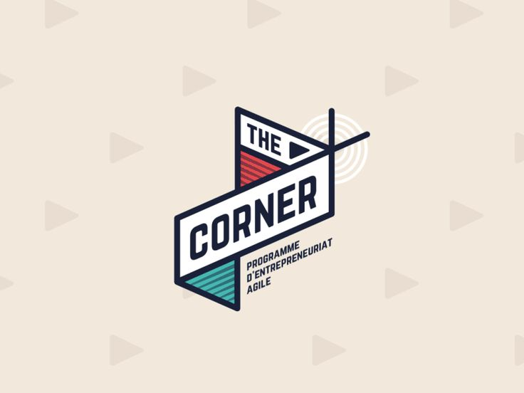 The Corner - Logo Design - Logomark, Logo Animation, GIF, Motion, Retro, White, Black, Blue, Red