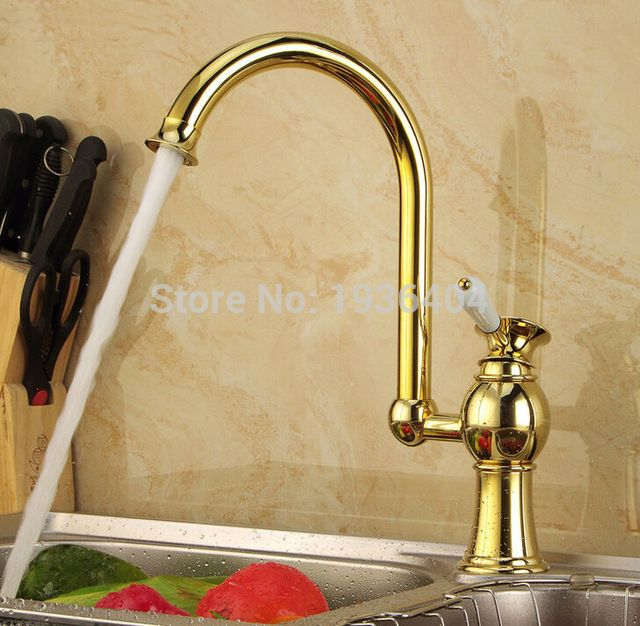 Bathroom Basin Faucets Golden Finish Swivel Kitchen Mixer Taps Single Hole Deck Mounted Sink Torneira Banheiro G1084