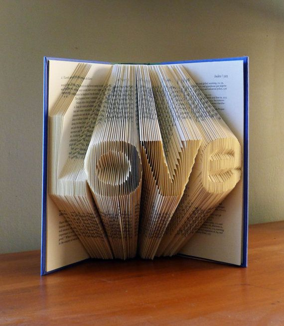 Paper Anniversary  LOVE  Folded Book Sculpture  by LucianaFrigerio, $95.00