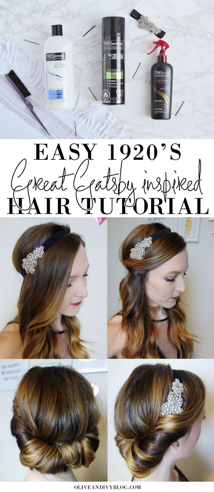 Easy 1920's Great Gatsby hair tutorial AD | oliveandivyblog.com                                                                                                                                                                                 More