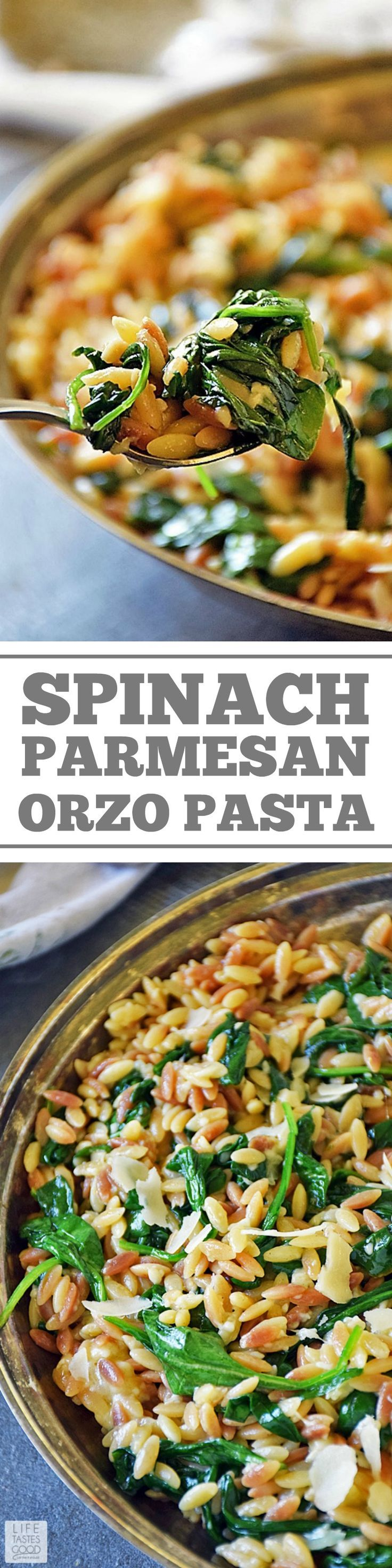 Orzo Pasta with Spinach and Parmesan is an easy recipe using fresh ingredients to maximize flavor. It makes an impressive side dish, but if you want an easy all-in-one meal, just add chicken for a delicious dinner that's quick and easy any night of the week.