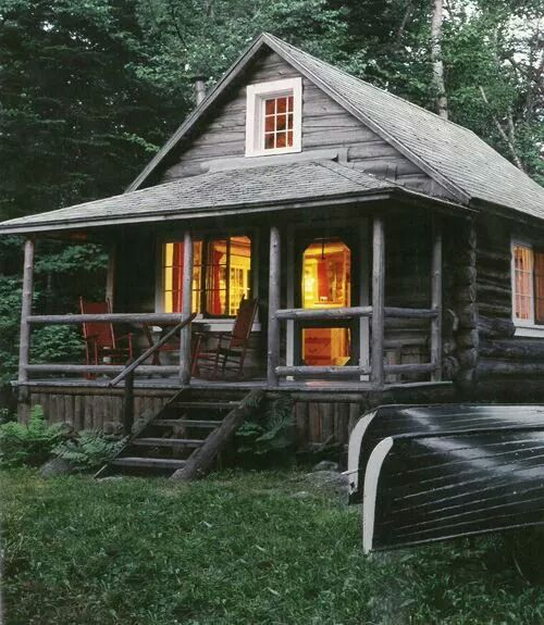 Cabin cottage porch cabins and hideaways and sheds and for Rustic shed with porch