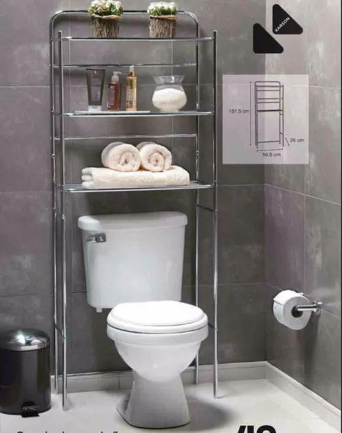 mueble organizador ba o repisa acero toallas sobre inodoro