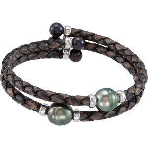Sterling Silver Tahitian Cultured Pearl Fw Cultured Black Pearl Cuff Bracelet 9mm 6-6.5mm 7 Inch JewelryWeb. $161.70
